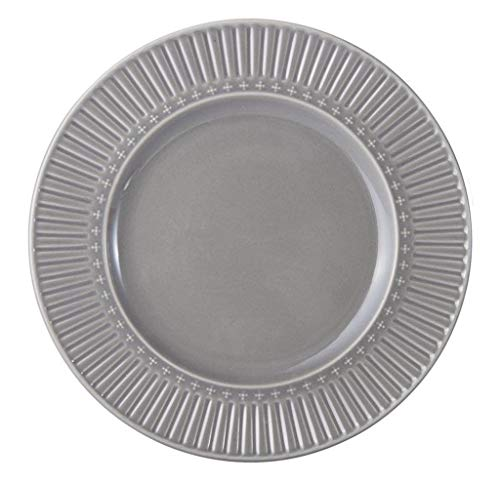 Mikasa Italian Countryside Accents Fluted Grey 11-in Dinner Plate