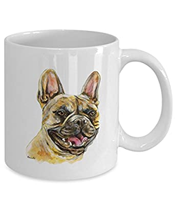 Smiling Tan/Brown French Bulldog Mug - Style No.10 - Cute Ceramic Frenchie Coffee Cup (11oz)