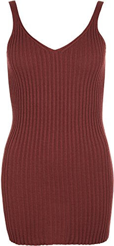 WearAll Women's Knit Ribbed Sleeveless V-Neck Long Top - Wine - US 8-10 (UK 12-14)