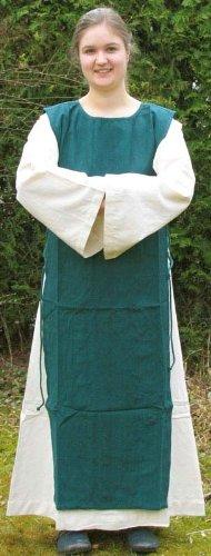 Kleid Skapulier Mittelalter Mehrfarbig grün naturbeige Damenkleid Baumwoll mit S XL dqqPHCwx
