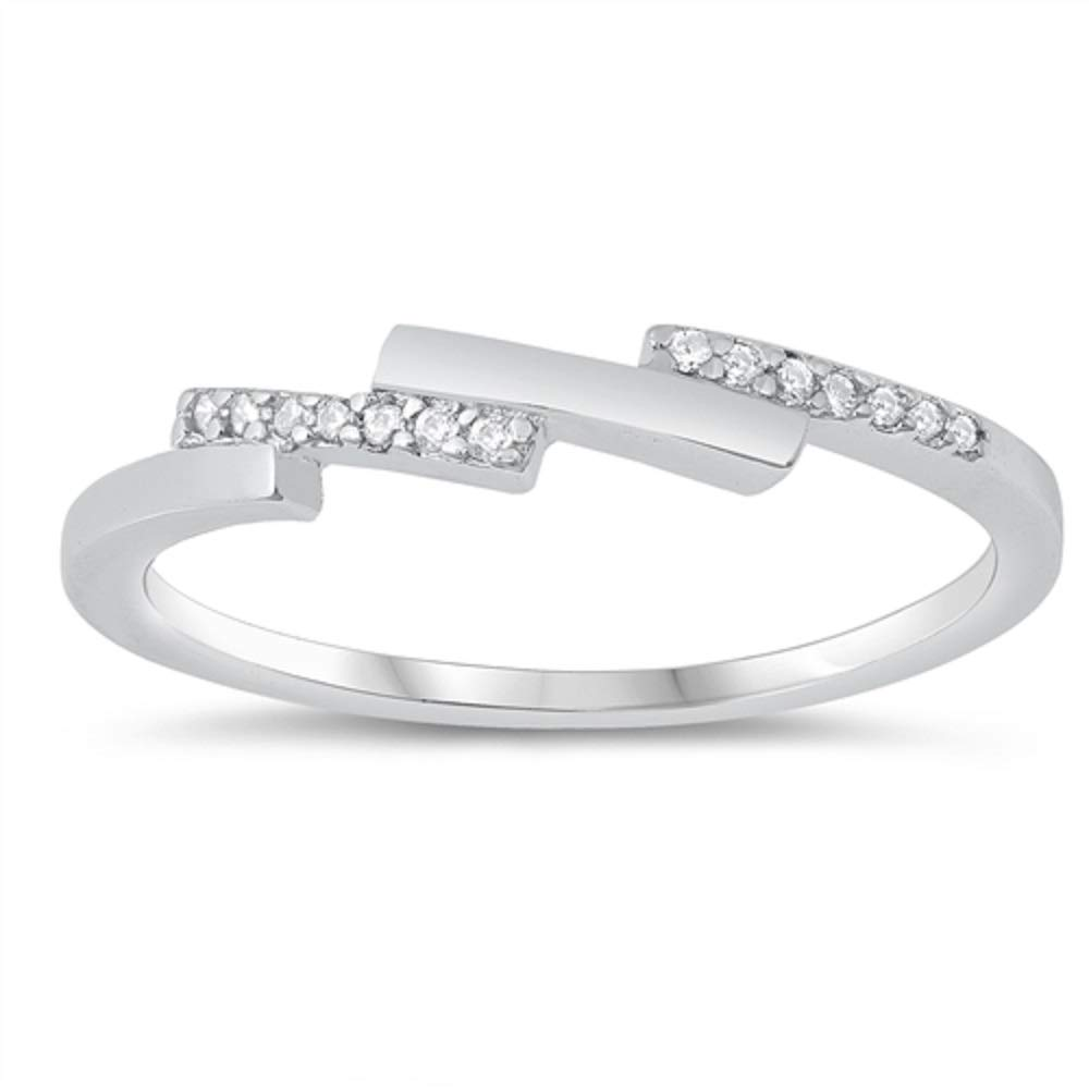 CloseoutWarehouse Clear Cubic Zirconia Stacked Bars Design Ring Sterling Silver