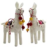 Juegoal Felt Toys Animal Alpaca,Handmade Wool Ornament Kids Gift Home Table Decoration,2 Pack
