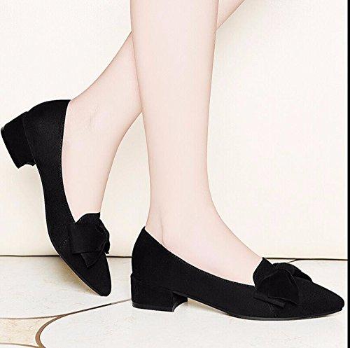 KHSKX-La Punta Negra Con Audaces Zapatos Set Pin Con Baja Baja Calzado Casual Zapatos Zapatos De Mujer Butterfly 37 40