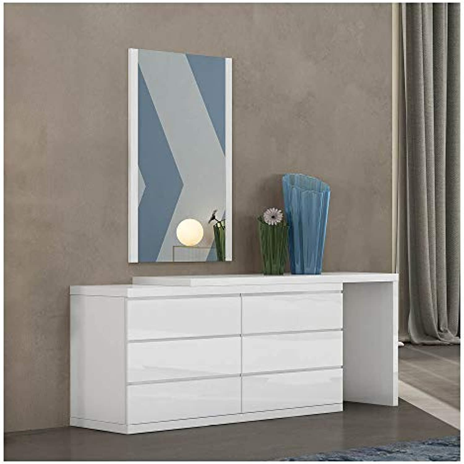 Whiteline Contemporary Modern Anna/Eddy High Gloss Extension Dresser, Single/Double, White (Extension Only)