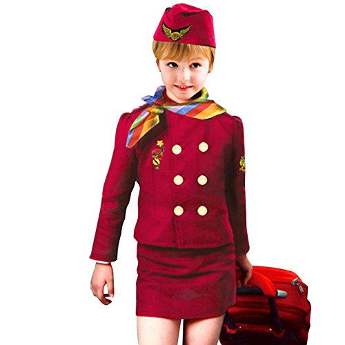 Airline Stewardess Halloween Costume (Quietcloud Kids Girls Airline Stewardess Uniform Kidswear Halloween Party Cosplay Costume)