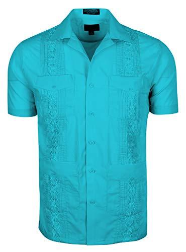(TrueM Men's Short Sleeve Cuban Guayabera Shirts (XL, Turq))