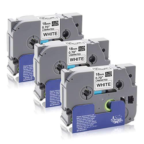 """3PK TZ 241 TZe 241 TZ241 Black on White Label Tape For Brother PT-E300 3//4/"""" 18MM"""