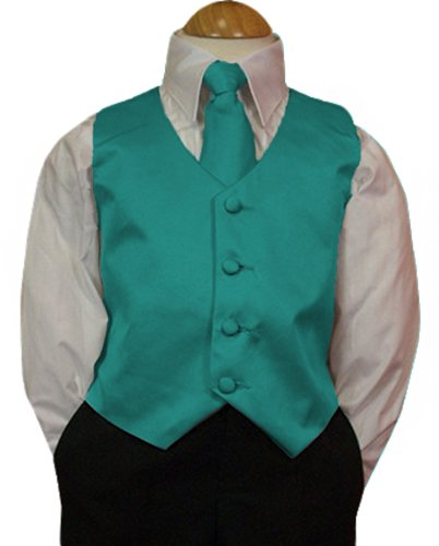 Peanut Butter Collection Boy's Tuxedo Vest and Tie Set, 0, Turquoise