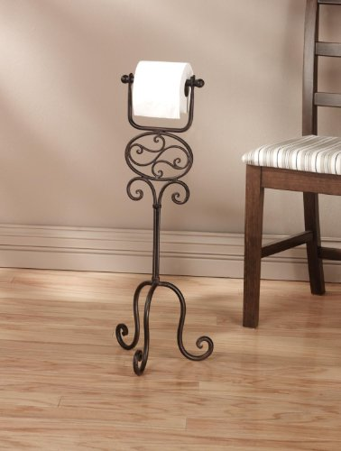 Toilet Paper Floor Stand, Elegant and artiscally designed scroll work, Solid, Functional and simply beautiful by SLD Awards Line