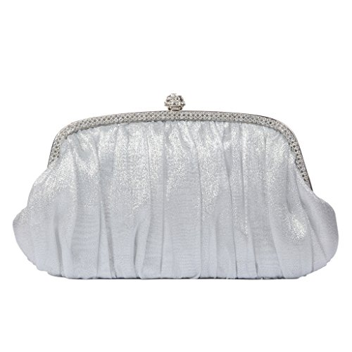 LOOSLOON Womens Vintage Satin Pleated Cocktail Evening Party Purse Bag Handbags/Clutches -White
