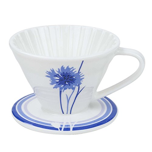 BLUE BREW BB1002 Ceramic Coffee Dripper Cornflower, 1-4 Cups Premium Quality Embossed Makes 1-4 Cups- Uses Size 2 Filter-BB1002, 1-4 Cups