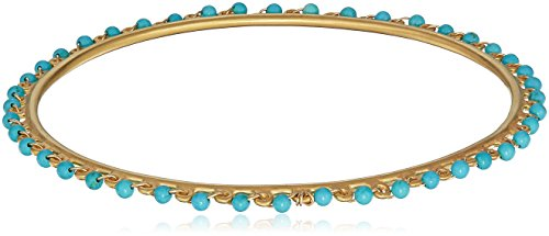 Satya Jewelry Women's Turquoise Gold Wrapped Bangle Bracelet, Blue, One Size