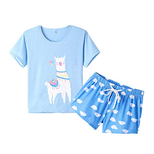 - YIJIU Women Short Sleeve Tee and Shorts Pajama Set Cute Cartoon Print Sleepwear Blue