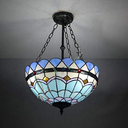 Tiffany Style Ceiling Pendant Light 16 Inch, 2-Light Inverted Pendant Lamp Uplight Others Metal Glass Style 110-240V Bulb Not Included / E26 / E27 Blue