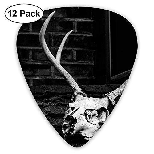 Custom Guitar Picks, Halloween Grayscale Photo of Skull with Antler Guitar Pick,Jewelry Gift For Guitar Lover,12 -