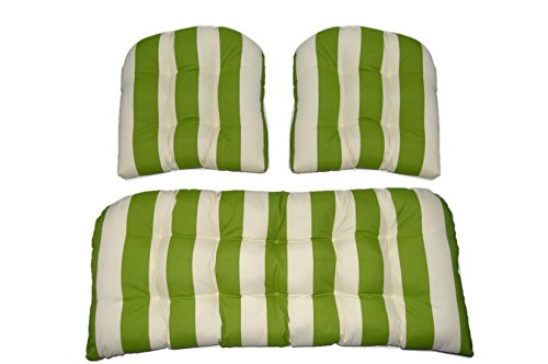 (3 Piece Wicker Cushion Set - Indoor / Outdoor Wicker Loveseat Settee & 2 Matching Chair Cushions - Kiwi Green and Ivory Stripe)