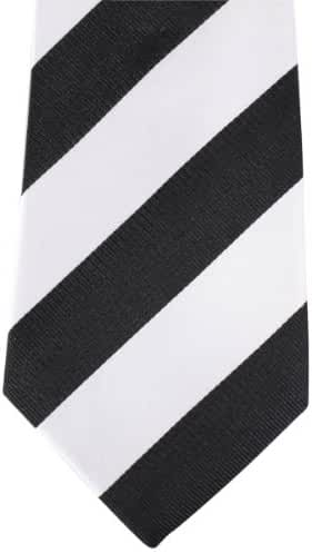 Black/White Thick Striped Tie by David Van Hagen