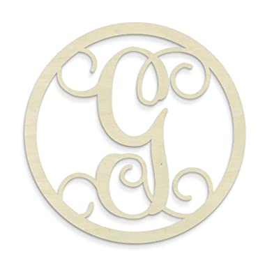 UNFINISHEDWOODCO Single Letter Circle Monogram-G, 19-Inch, Unfinished