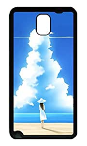 Note 3 Case, Galaxy Note 3 Case, [Perfect Fit] Soft TPU Crystal Clear [Scratch Resistant] Girl On Beach With Big Cloud Creativity Back Case Cover for Samsung Galaxy Note 3 N9000 Cases