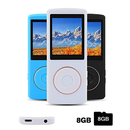 layer with a 8G Micro SD Card, Portable Lossless Sound Player with Mini USB Port, Also Support Ebook, Image, 1.8 inches LCD Screen MP3 Music Player - White ()