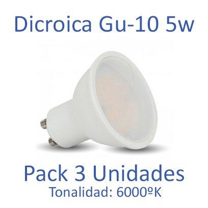 Bombilla LED GU-10 Dicroica 5w 6400ºk (luz fria) [Pack 3 Unidades]: Amazon.es: Iluminación