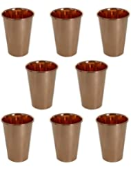 Water Drinking Glasses Set of 8, Ayurvedic Product for Healing Pure Copper Tumbler Drinkware