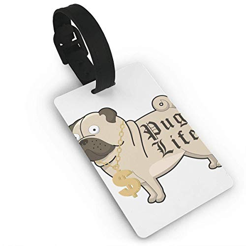 Luggage Tags Holders for Travel Luggage,Luggage Tags for Suitcases, Luggage Tags with Genuine Hand Strap Pug Life Cartoon with Gold Chain Necklace Travel Suitcase Bag Tag Identify ()