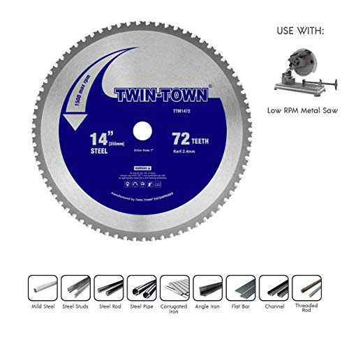 TWIN-TOWN 14-Inch 72 Teeth Dry Cut Steel and Ferrous Metal Saw Blade with 1-Inch Arbor