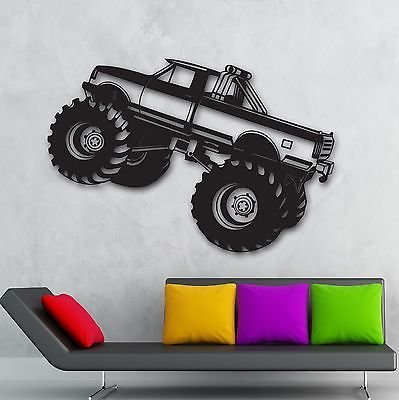 Monster Truck Wall Stickers Car Pickup for Garage SUV Sport Vinyl Decal VS919 - Monster Truck Wall Border