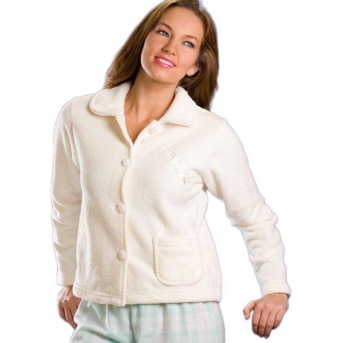 Camille Women's Womens Ladies Nightwear Luxury Ivory Soft Button Up Fleece Bed Jacket 14/16 Off-white