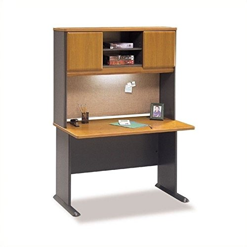 Bush Series A 48'' Wood Computer Desk with Hutch in Natural Cherry