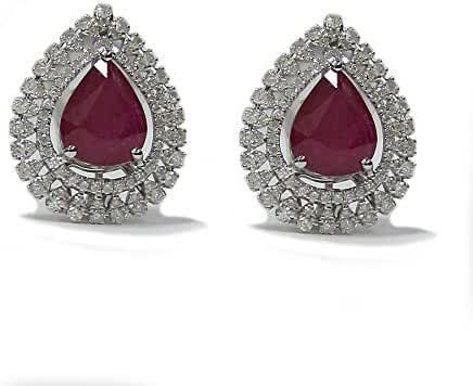 5.12CTW Ruby and Diamond Earrings Platinum