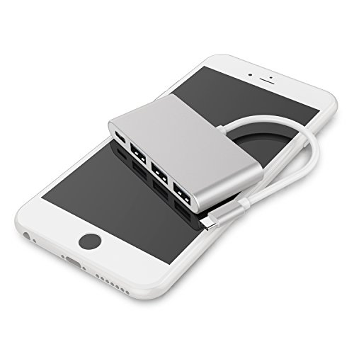 4-in-1 USB-C Hub with Type C, USB 3.0, USB 2.0 Ports for New Apple MacBook 12'' / New MacBook Pro 13'' 15'' / ChromeBook Pixel and other devices, Multiport Charging & Connecting Adapter-Silver by Exulight (Image #6)