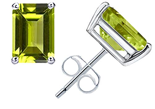 1.1 Ct Green Peridot Gemstone Birthstone 925 Sterling Silver Stud Earrings Emerald-Cut 6x4mm For Women