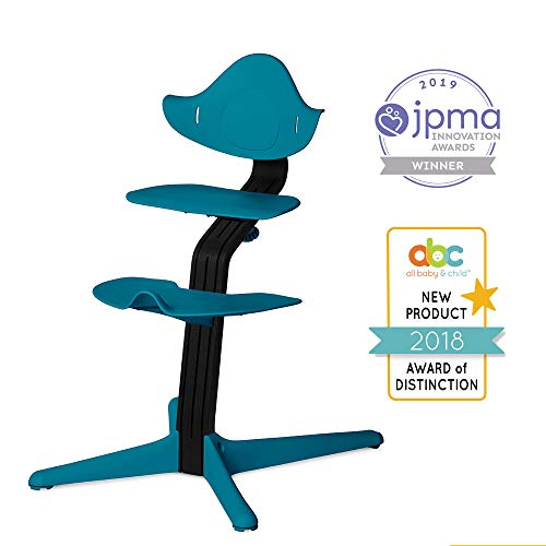 Nomi Chair, Ocean - Black Oak Wood, Toddler Through Teenager and Beyond with Seamless Adjustability, Better Than a Dining Booster Seat, Cure for Fidgeting, Modern Design, Strong Wooden Stem