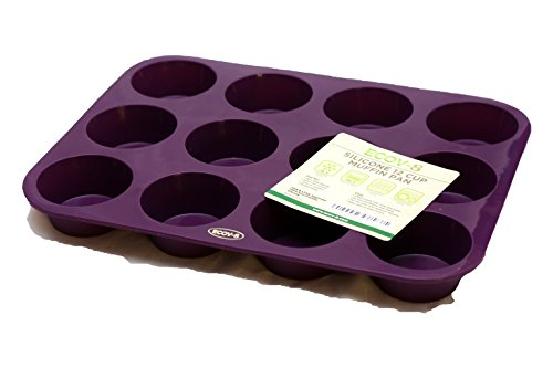 Premium 12 Cup Muffin Pan (Deep Plum) Non Stick Bakeware with BONUS RECIPE E-BOOKLET- 100% Silicone Baking Molds for All Recipes - Durable Mini Cake/Tart/Quiche Pans!