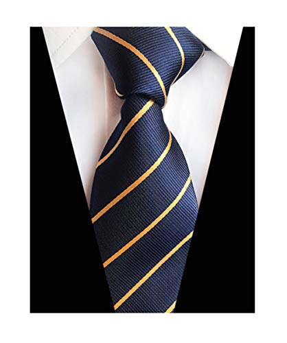 MENDENG New Classic Striped Blue Gold Streak 100 Silk Men's Tie Necktie Ties