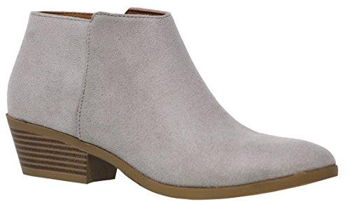 MVE Shoes Women's Almond Toe Ankle Bootie - Cute Low Heeled Bootie Grey Imsu*m