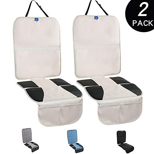 Funbliss Car Seat Protector for Baby Child Car Seats Auto Seat Cover Mat for Under Carseat with Thickest Padding to Protect Leather & Fabric Upholstery – Waterproof and Dirt Resistant (2 Pack) Beige