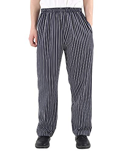 Cargo Baggy Chef Pants - Men's and Women's Uniforms Kitchen Work Baggy Black and White Stripes Pant Cargo Style Chef Pants Blue-M