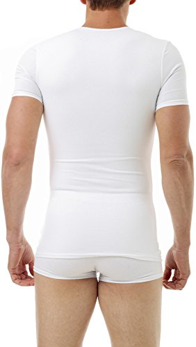 Underworks Cotton Concealer Compression V-neck T-shirt 3-pack Top, Small, White by Underworks (Image #2)