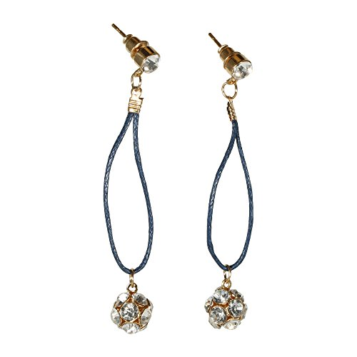 Crystal Rope Earrings (Fashion Goldtone Unique Women White Rhinestone Crystal Drop Earrings Ball Sphere Elegant Blue Rope Buddhist Shambhala Jewelry (Blue))