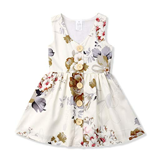 Toddler Baby Girl Dress Princess Floral Skirt Sleeveless Button Party Formal Dresses Girls Summer Clothes (Beige, 6-12 Months)