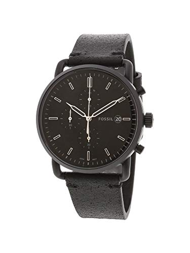 Fossil Men's Stainless Steel Quartz Leather Strap, Black, 22 Casual Watch (Model: FS5504) (Black Chrono Strap)