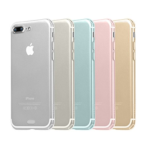 "iPhone 7 /8 Plus Case,AMBM Wholesale 5pcs/lots 5 Colors Premium Clear TPU Cover Case Soft Trim Prefect fit Work with iPhone 7 /8 Plus 5.5"" 5.5 INCH - Black White Pink Blue Clear from AMBM"