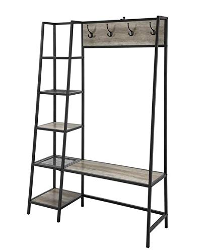 Amazon.com: Hall Trees with Bench and Coat Racks - Gray Wash Wood Black Angular Metal Frame with Five Side Shelves- Organizing Your Space with ...