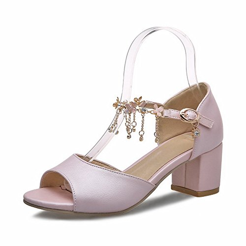 Amoonyfashion Kvinnor Kattunge-häl Fast Spänne Mjukt Material Öppen Sandaletter Rosa
