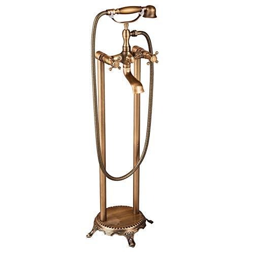 (Senlesen Floor Mount Free Standing Tub Filler Tap Bathtub Mixer Faucet with Handheld Sprayer Antique Brass)