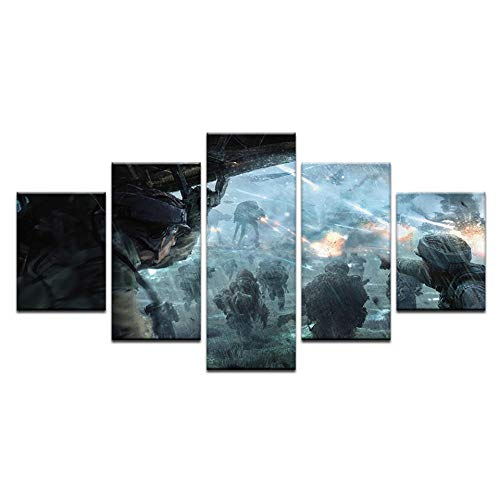 Fbhfbh 5 Piece HD Prints Movie Poster Stormtrooper Painted On Canvas Wall Art Pictures for Home Living Room Decor Paintings -16x24/32/40inch,with -