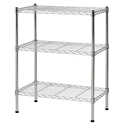Store LLC Simple Design 3-Tier Layer Rack Shelves Shelving Kitchen Cart Microwave Oven Unit Storage Organizer for Kitchen Cafes Restaurants in Silver Color